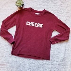 """""""Cheers"""" in Chenille on Inside Out AEO Crewneck"""
